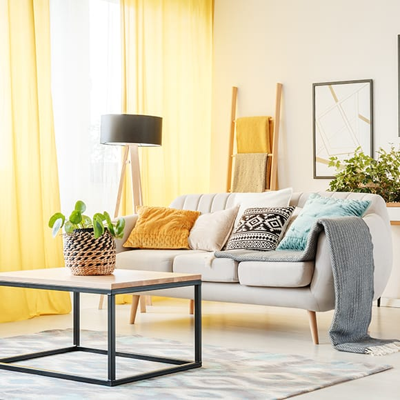 Modern bright living room to promote leading household insurance brokers Full Time Cover