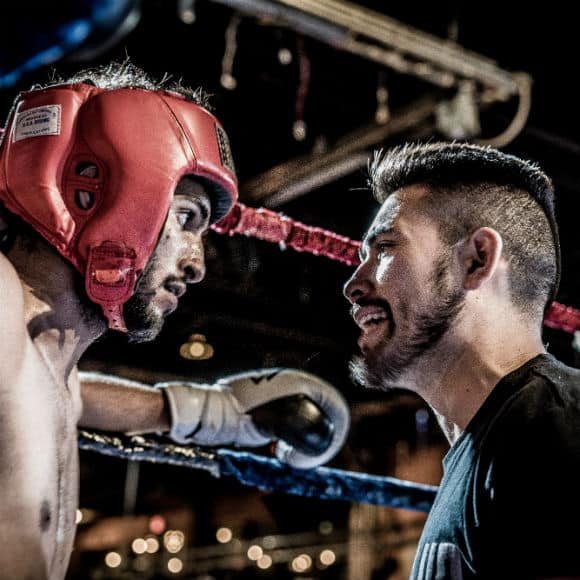 Boxers squaring up before match to promote leading boxing insurance brokers Full-Time Cover