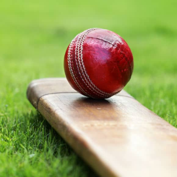 Cricket ball placed on bat to promote leading cricket insurance brokers Full Time Cover