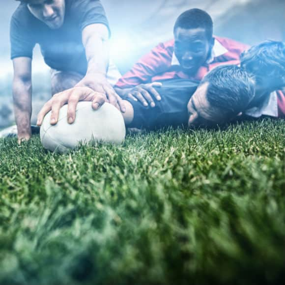 Rugby player caught in pileup before touchdown to promote leading rugby insurance brokers Full-Time Cover