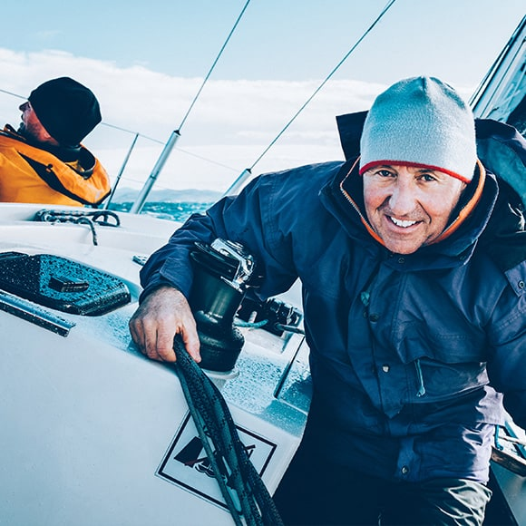 Individual on yacht to promote leading yacht insurance broker Full-time Cover