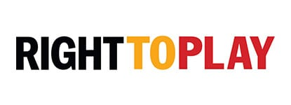 Right to play charity logo supported by leading sports insurance broker Full-time Cover